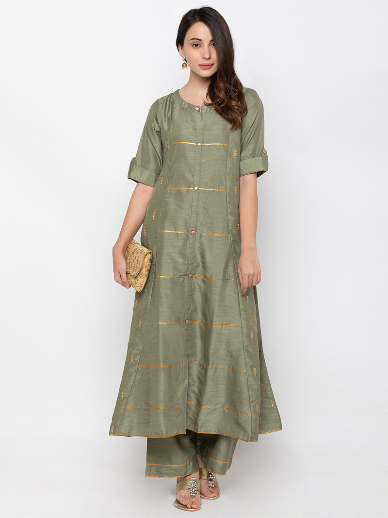 Eye-catching Olive Art Silk Round Neck Palazzo Set
