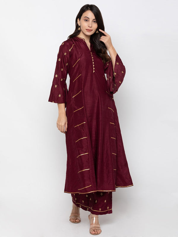 Luminious Maroon Art Silk Chinese Collar Palazzo Set
