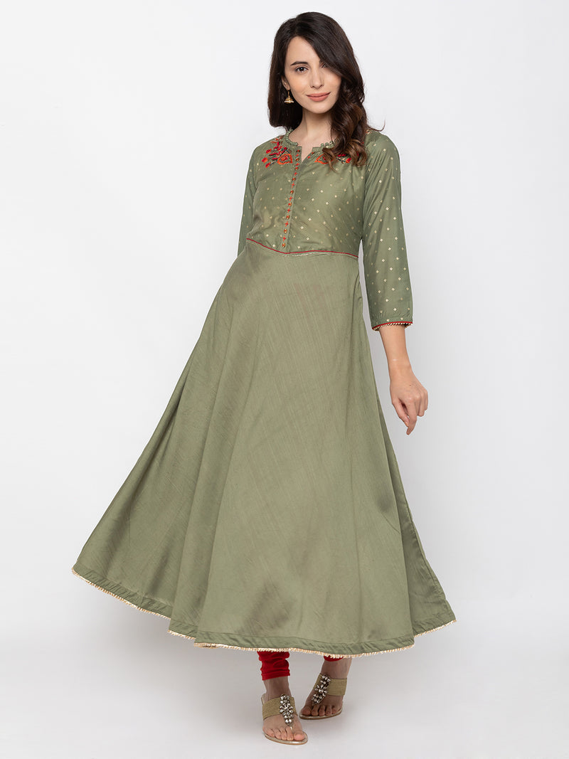 Modish Olive Art Silk V Neck Embroidered Kurta