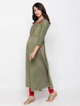 ZOLA Modish Olive Art Silk V Neck Embroidered Kurta
