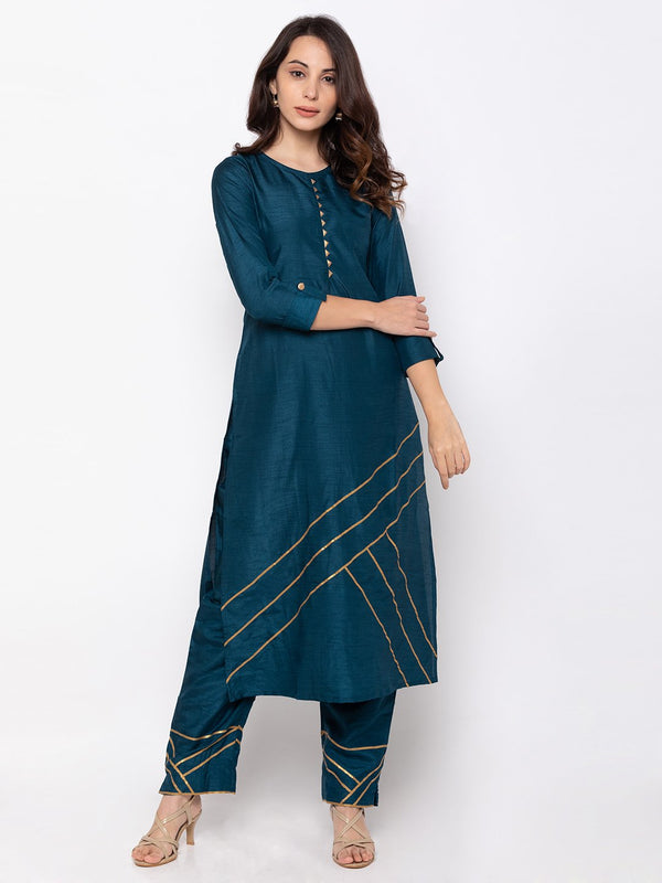 ZOLA Navy Blue Art Silk Kurta Set with Gota Embroidery