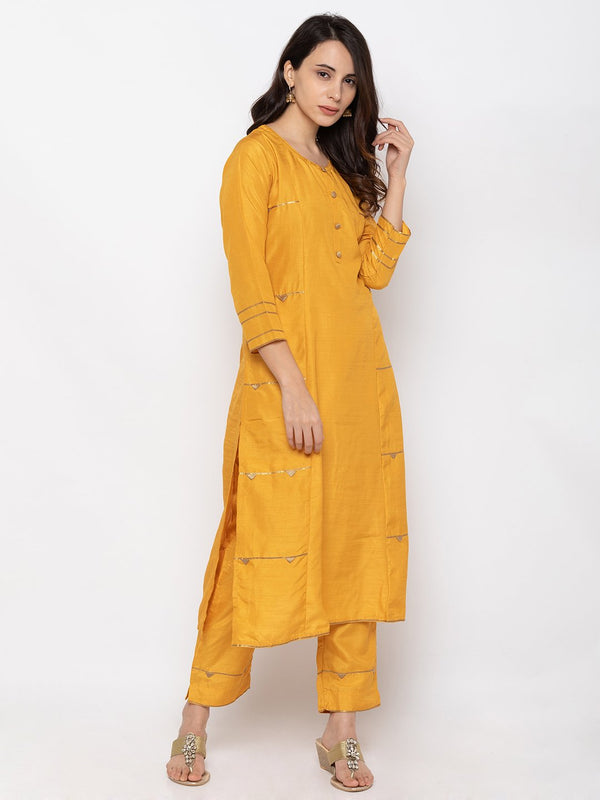 Snazzy Yellow Art Silk Round Neck Palazzo Set