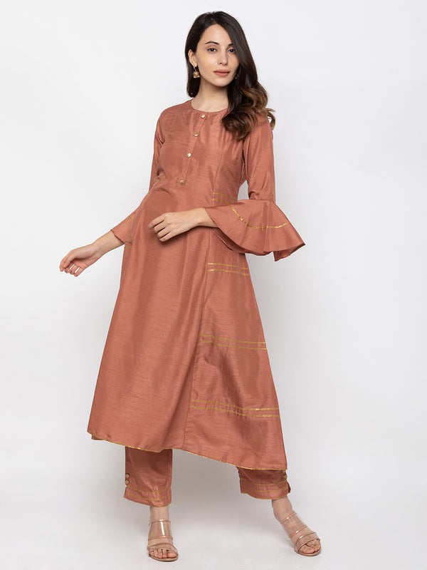 Attractive Brown Art Silk Round Neck Embroidered Kurta
