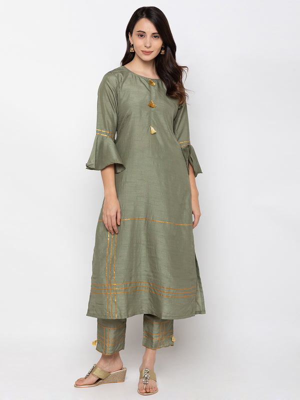Voguish Olive Art Silk Round Neck Palazzo Set