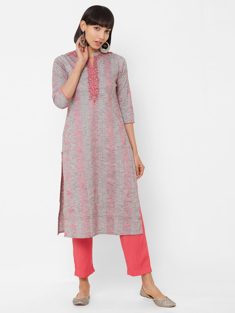 ZOLA Textured Grey Kurti paired with Cotton Pants