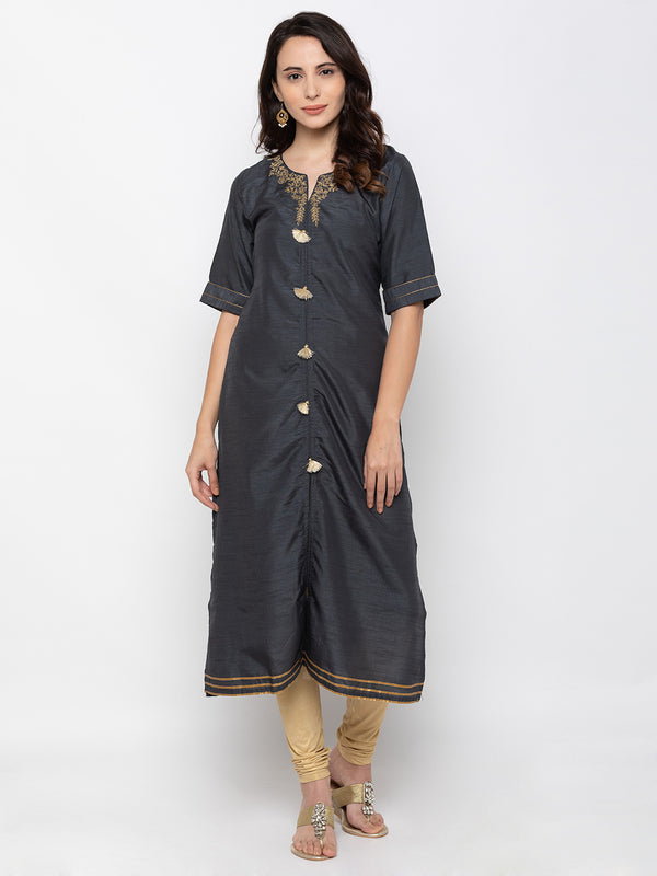 Trendsetting Black Art Silk V Neck Embroidered Kurta