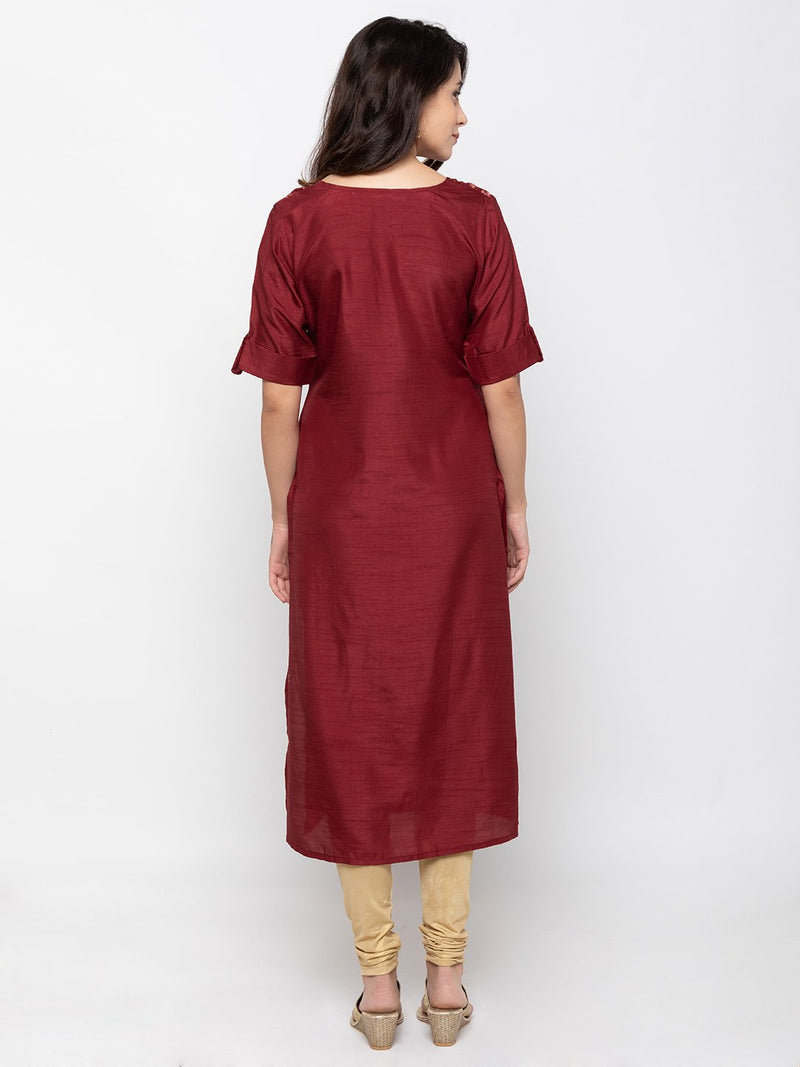 Modern Maroon Art Silk Round Neck Embroidered Kurta
