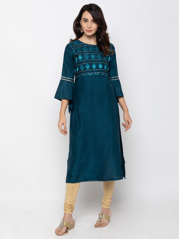 Exquisite Navy Blue Art Silk Round Neck Embroidered Kurta