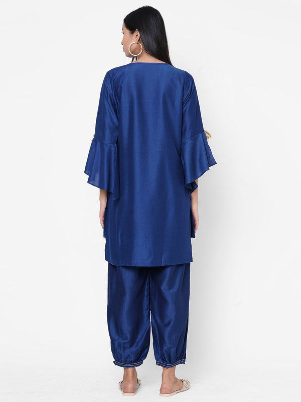 ZOLA Blue Silk Embellished Kurta and Palazzo Set for Women