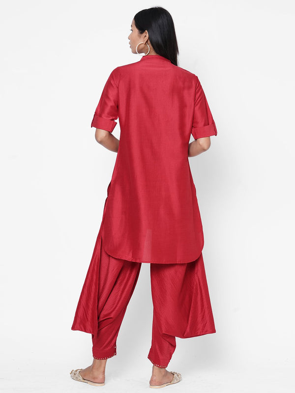 ZOLA Red Silk Embellished Kurta and Palazzo Set for Women