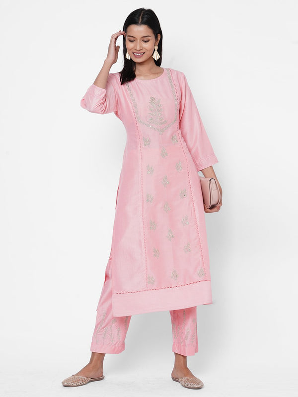 ZOLA Baby Pink Silk Embellished Kurta and Palazzo Set for Women