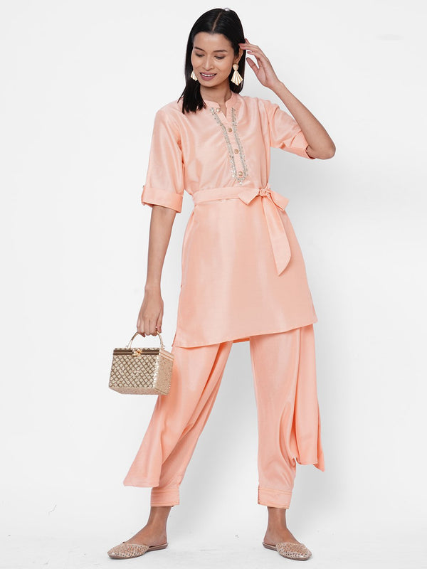 ZOLA Peach Silk Solid Kurta and Palazzo Set for Women