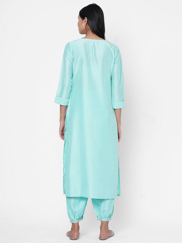 ZOLA Sky Blue Silk Embellished Kurta and Palazzo Set for Women
