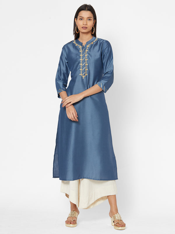 ZOLA Synthetic Embroidered Kurta for Women