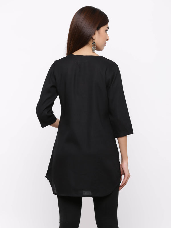 Plain Bright Colured Tunic Black