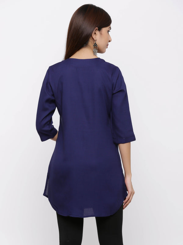 Plain Bright Colured Tunic Navy Blue