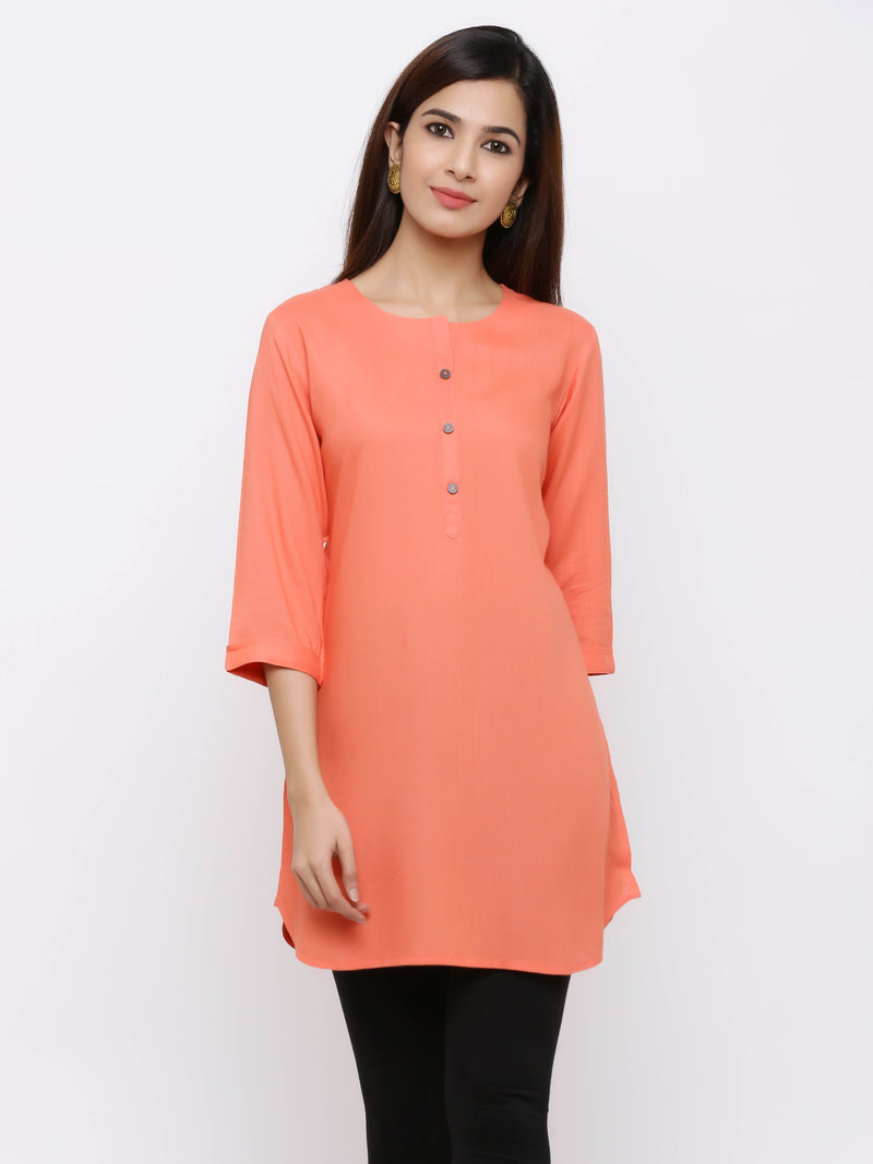 Plain Bright Colured Tunic Peach