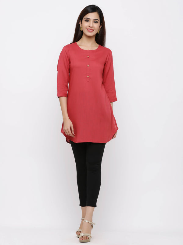 Plain Bright Colured Tunic Pink