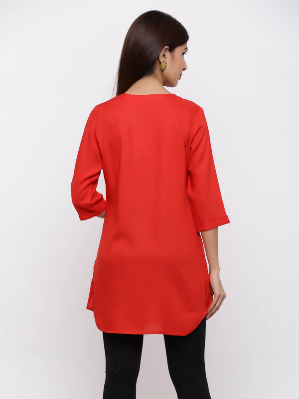Plain Bright Colured Tunic Red