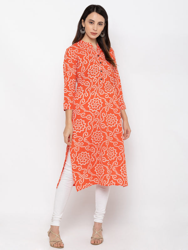 Elegant Orange Cotton Chinese Collar Bhandhej Kurti