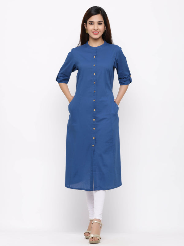 A-Line Button - Down Kurti with Pockets Sky Blue