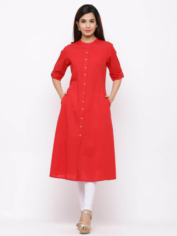 A-Line Button - Down Kurti with Pockets Red