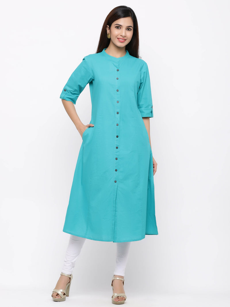 A-Line Button - Down Kurti with Pockets Blue