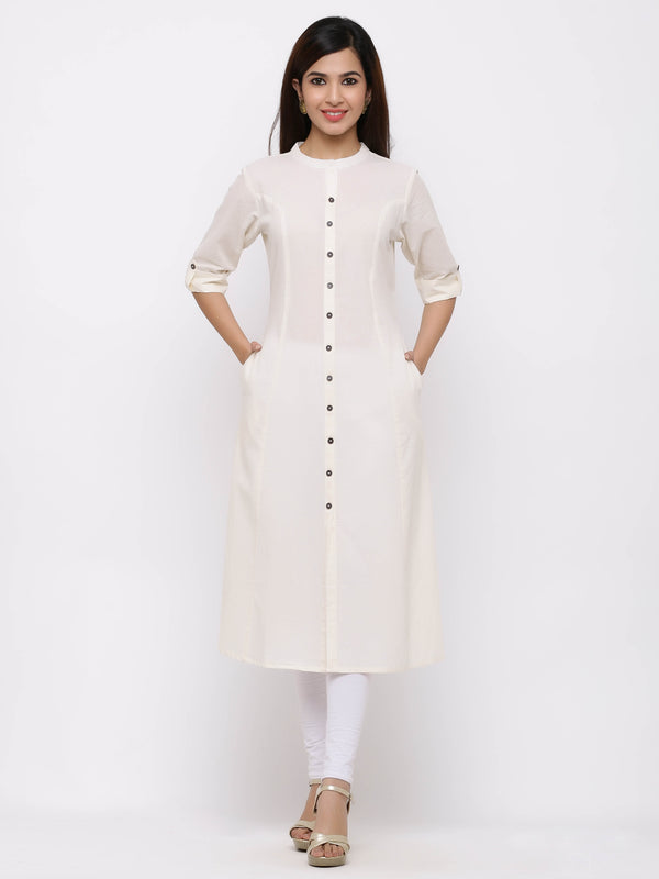 A-Line Button - Down Kurti with Pockets White
