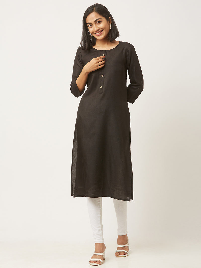 Black Straight Solid Coloured Kurti With Pockets