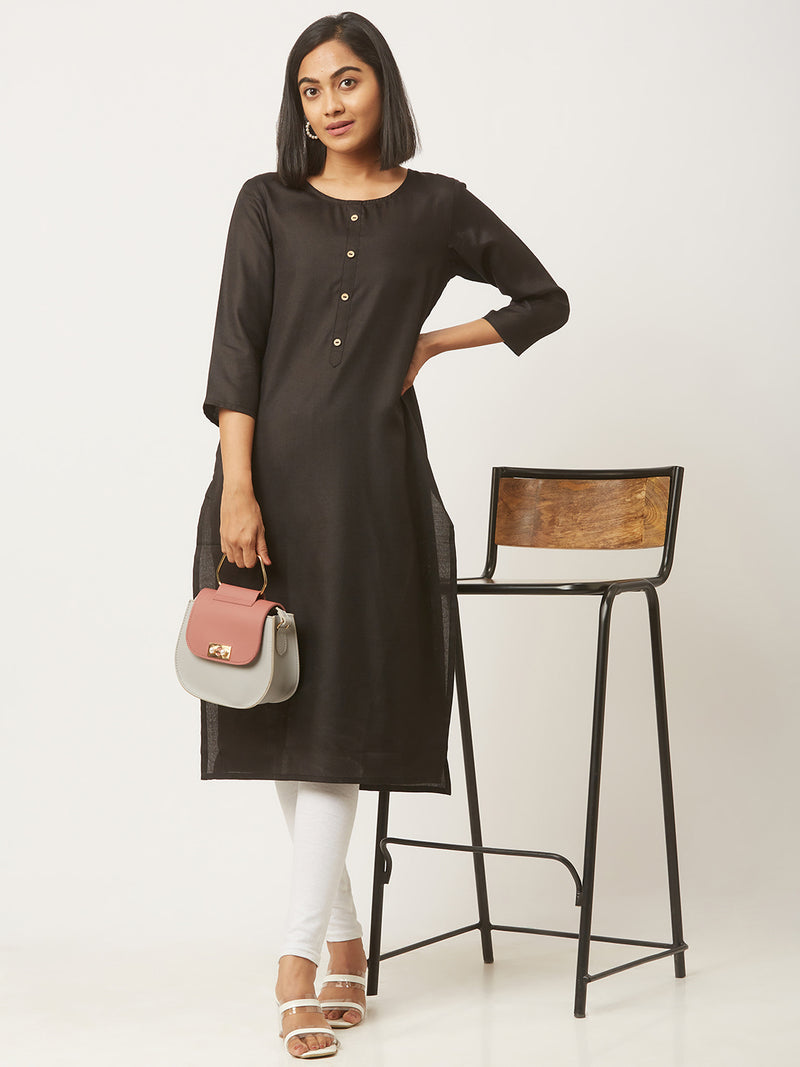 Straight Solid Coloured Kurti with Pockets Black