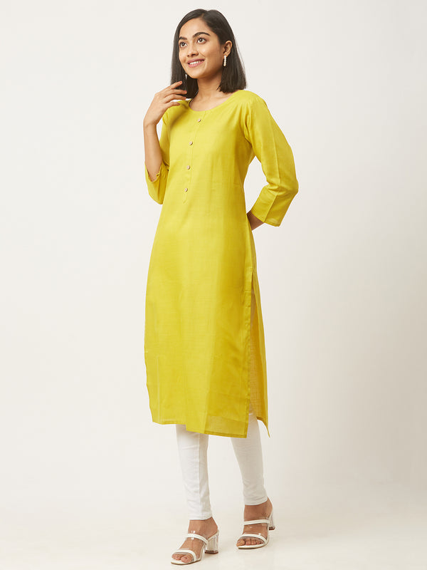 Green Straight Solid Coloured Kurti With Pockets