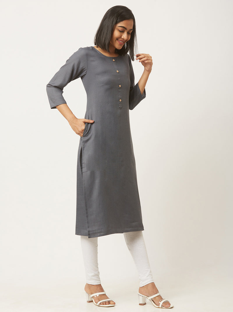 Straight Solid Coloured Kurti with Pockets Grey