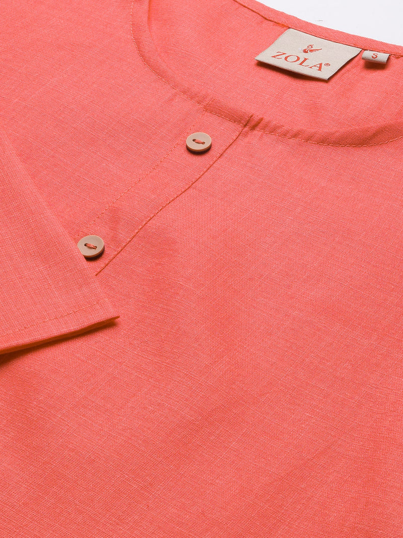 Straight Solid Coloured Kurti with Pockets Pink