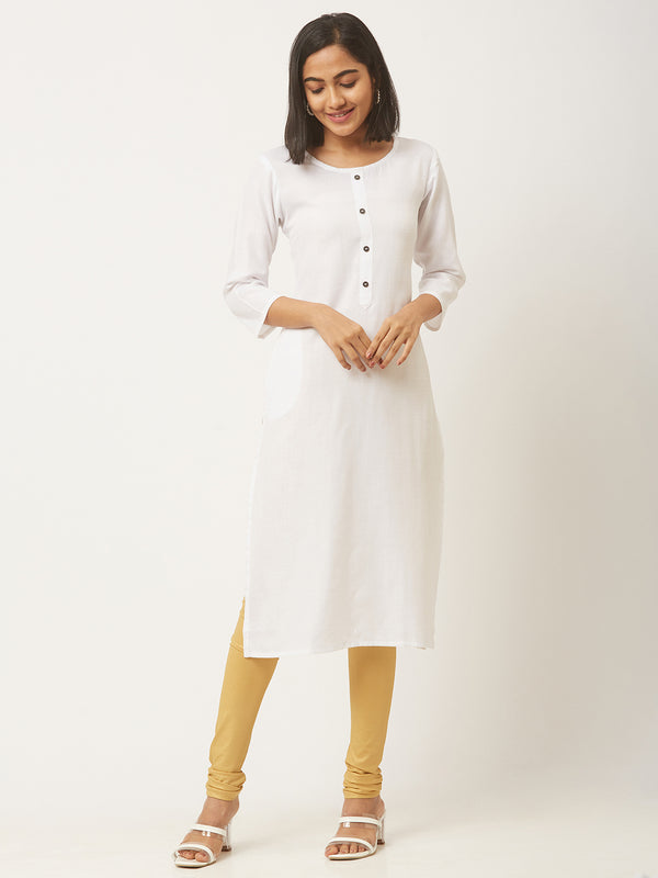 White Straight Solid Coloured Kurti With Pockets