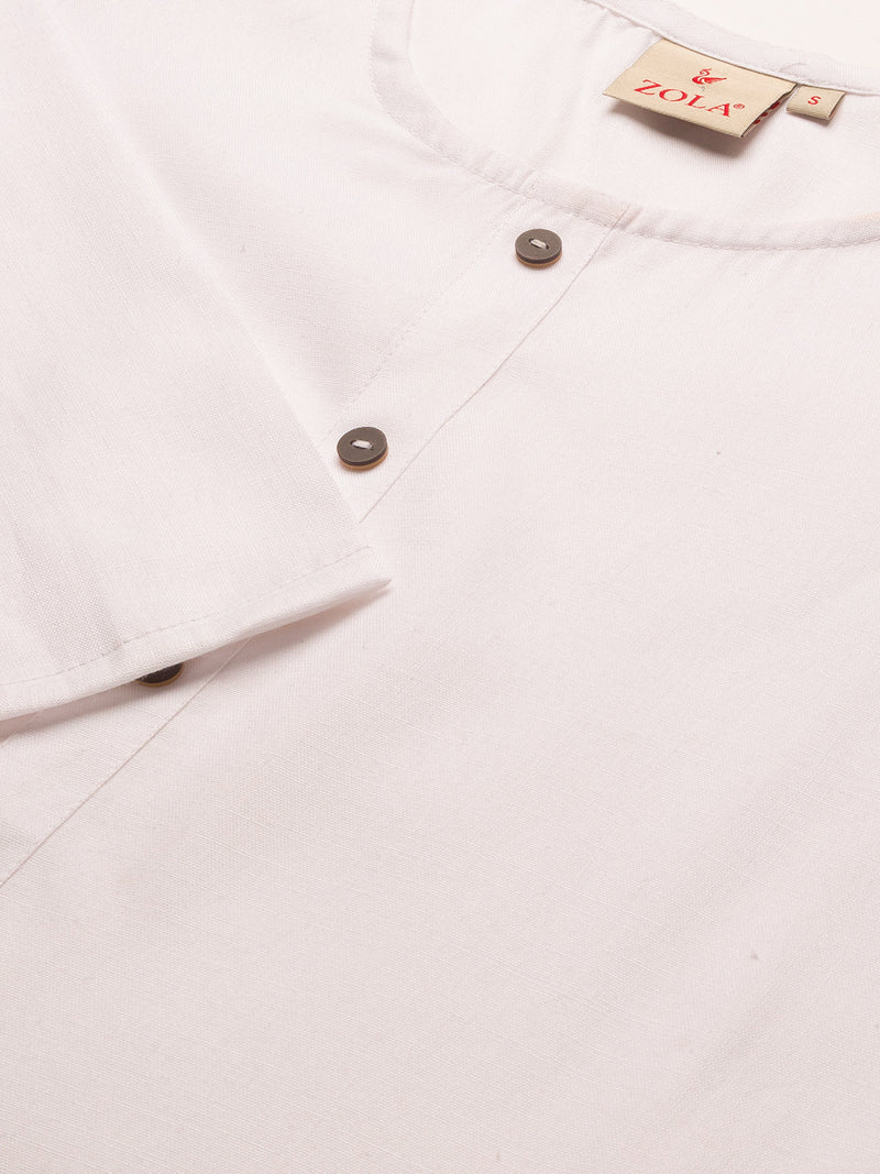 Straight Solid Coloured Kurti with Pockets White
