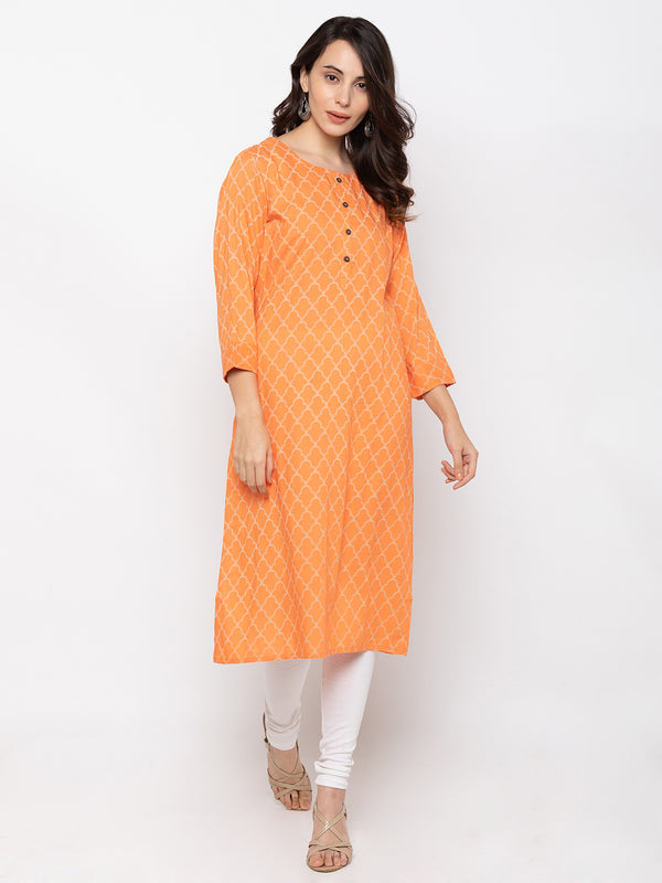 Lively Orange Cotton Round Neck Printed Kurti