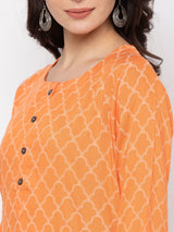 ZOLA Orange Cotton Round Neck Printed Kurti