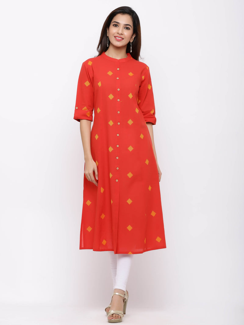 A-Line Printed Kurti with Pockets Red
