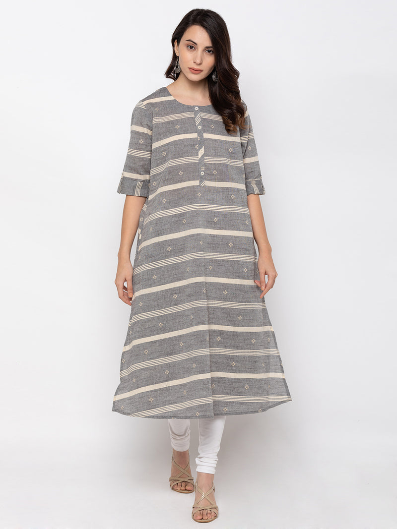 Gorgeous Grey Modal Silk Round Neck A-Line Kurti
