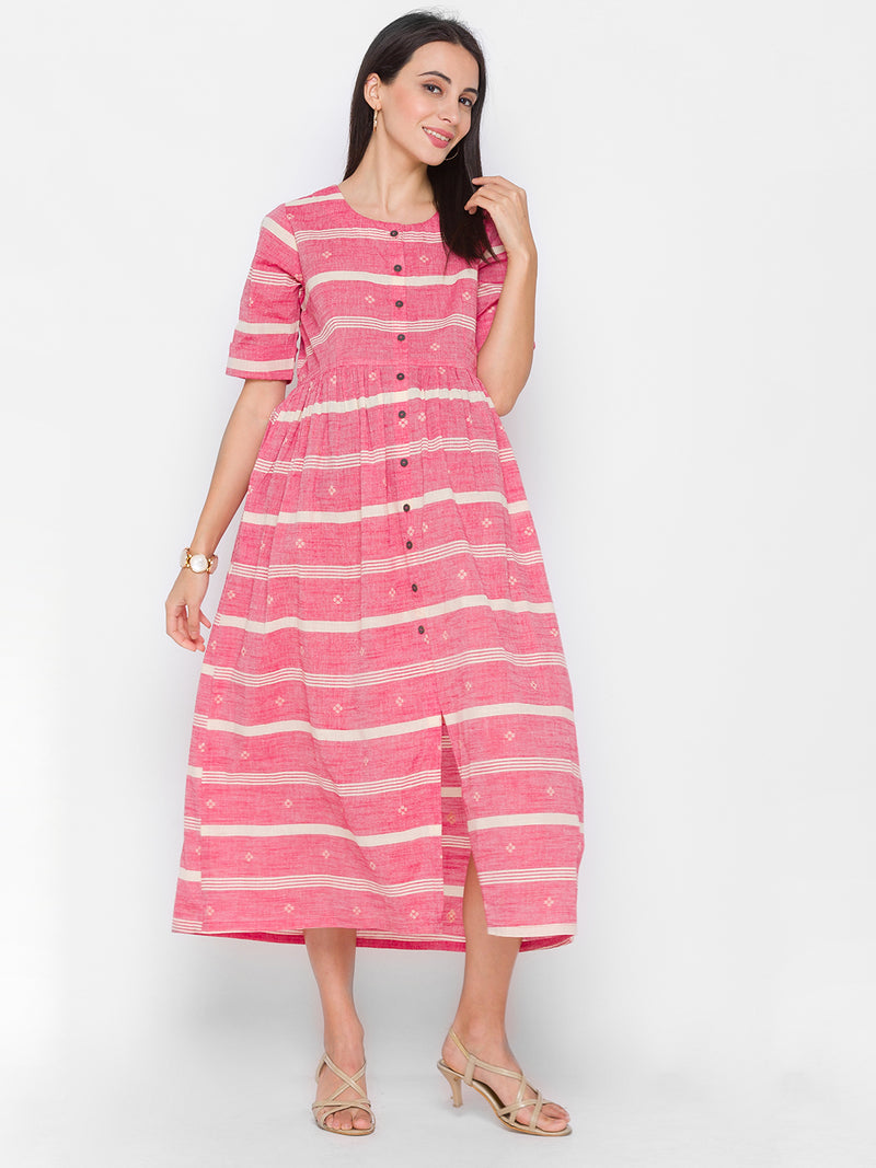 Frock Style Printed Kurti with Pockets Pink