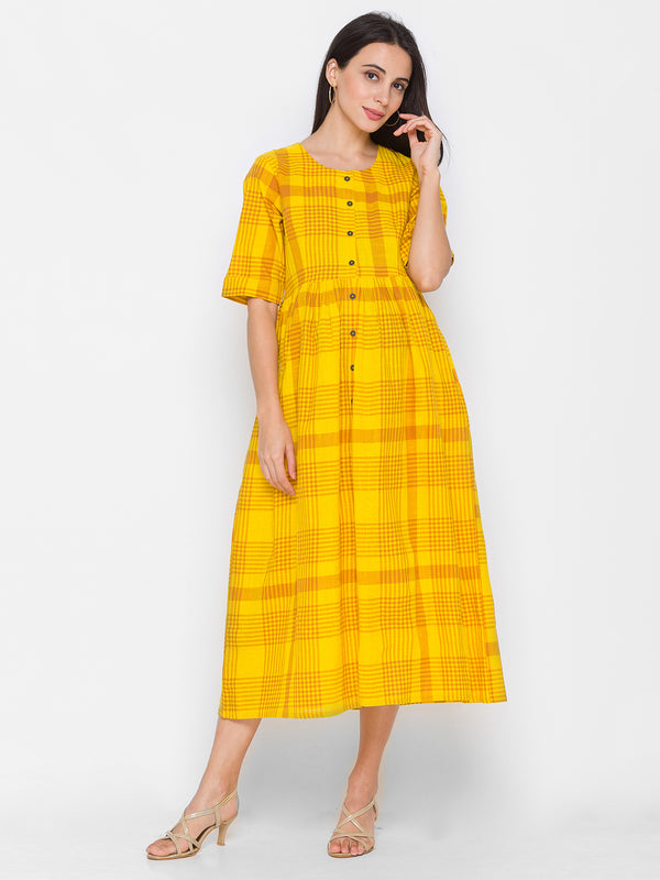 ZOLA Yellow Frock Style Checkered Button-Down Kurta with Pockets