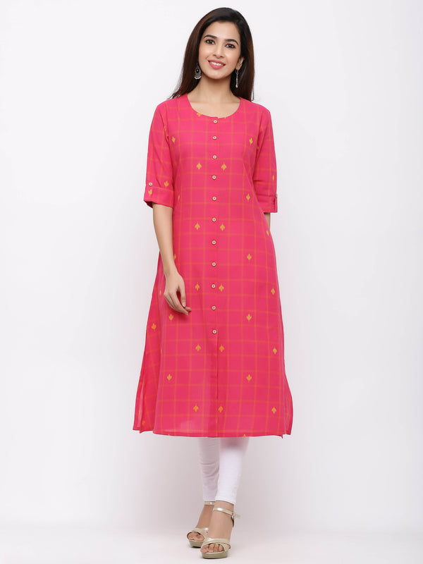 ZOLA Pink A-Line Checks Kurti With Pockets