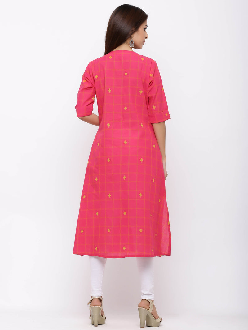 Frock Style Checks Kurti With Pockets Pink
