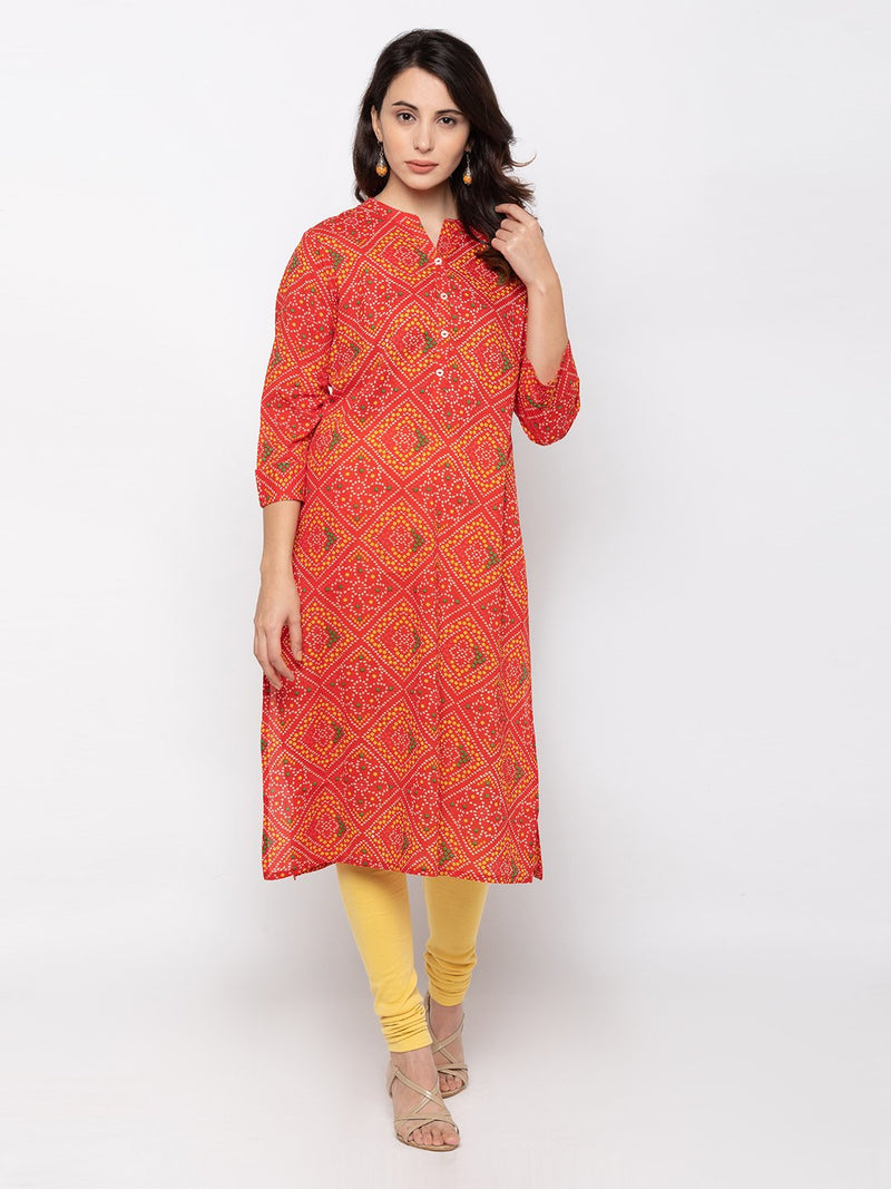 Smart Red Cotton Chinese Collar Bhandhej Kurti