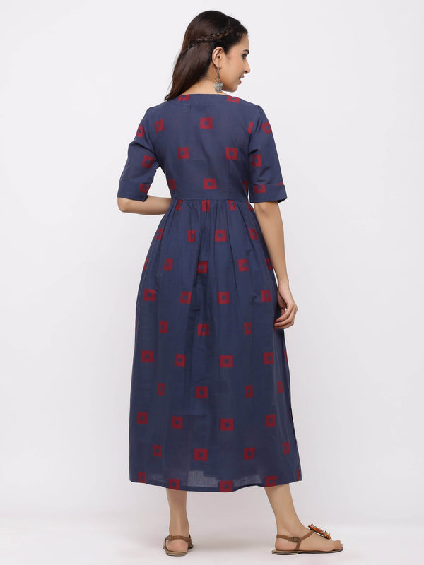 Frock Style Printed Kurti with Pockets Navy Blue