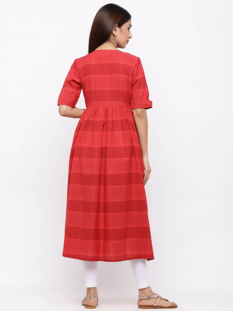 ZOLA Red Frock Style Checks Kurti with Pockets