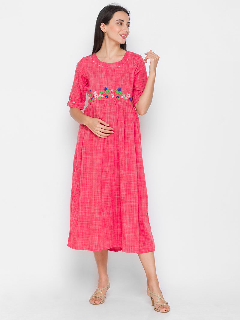 Frock Style Textured Kurti With Embroidery Details And Pockets Pink