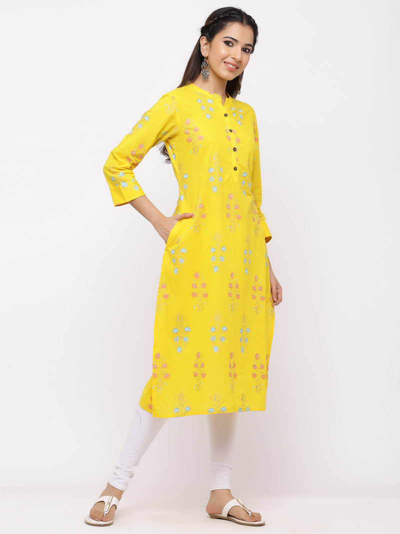 Straight Solid Printed Kurti With Pockets Yellow