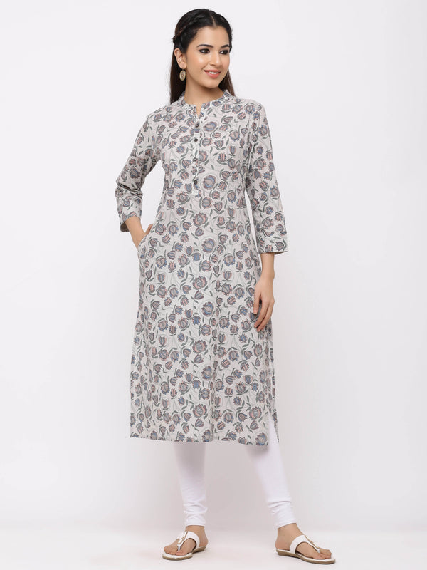 Straight Solid Printed Kurti with Pockets Grey