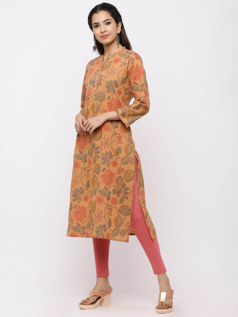Straight Solid Printed Kurti with Pockets Orange